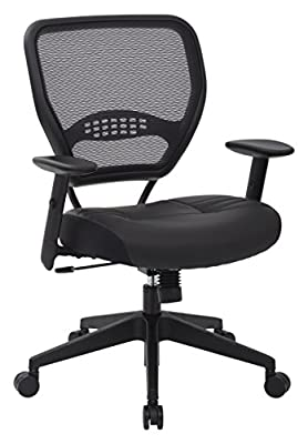 SPACE Seating Professional AirGrid Dark Back and Padded Black Eco Leather Seat, 2-to-1 Synchro Tilt Control, Adjustable Arms and Tilt Tension with Nylon Base Managers Chair by Office Star