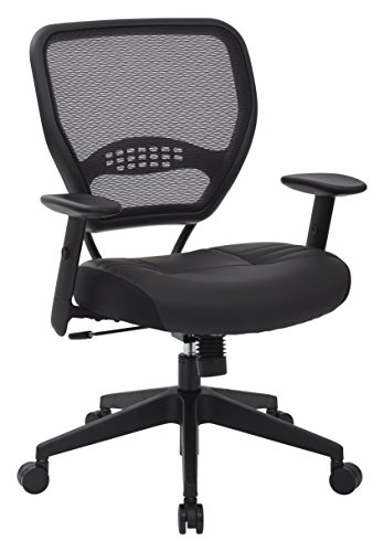 SPACE Seating Professional AirGrid Dark Back and Padded Black Eco Leather Seat, 2-to-1 Synchro Tilt Control, Adjustable Arms and Tilt Tension with Nylon Base Managers Chair Eco Leather Managers Chair