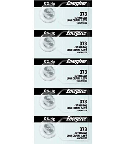 Energizer Battery 373(SR916SW) Silver Oxide 1.55V (5 Batteries Per Pack) by Energizer