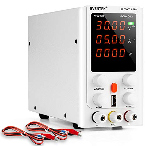 Labornetzgerät 30V 5A, Regelbar, eventek labornetzteil DC mit 4 stelliger LED Anzeige, 5V2A USB Schnittstelle, Krokodilkabel/Prüfleitungen