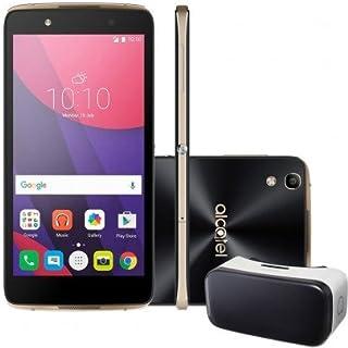 "Smartphone Alcatel Idol 4 6055B Preto com Dourado, Tela 5.2, 4G+WiFi, Android 6.0, 13MP, 16GB + Ã""culos VR"