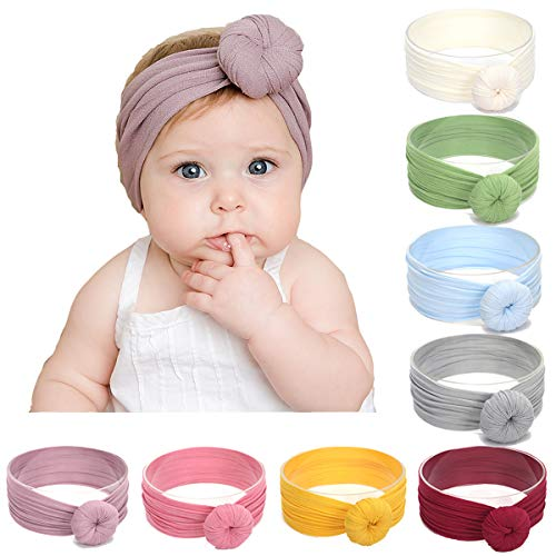 Simoda 7/8 Pcs Kids Baby Bohemian Turban Headbands Super Suave algodón Lindo Turban Knot Caps (8 Pcs)