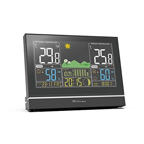 Wittime 2076A Funk Wetterstation mit Außensensor, Innen- und Außentemperaturanzeige, DCF Empfangssignal Funkuhr, Farbdisplay Barometer, Wettertrend-Anzeige