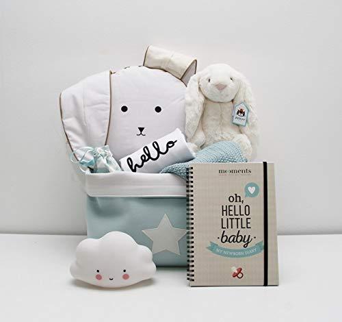 Coffret cadeau de naissance pour bébé unisexe/Cool Baby-Body manches longues et 7 cadeaux originaux pour bébé + panier de rangement mint avec étoile