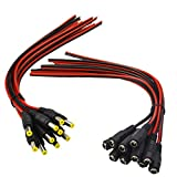 (Real 18AWG 43x2pcs Copper Strands) 10 Pairs DC Power Pigtail Cable Wire, 12V 5A Male & Female Connectors for CCTV Security Camera and Lighting Power Adapter by MILAPEAK (2.1mm x 5.5mm, Ultra Thick)