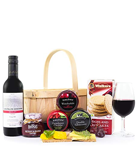 Cheese and Wine Basket - Free Delivery - Cheese Hampers - Cheese Gifts - Cheese Gift Delivery - Cheese Hamper Delivery - Cheese and Wine Gifts - Christmas Cheese Gifts