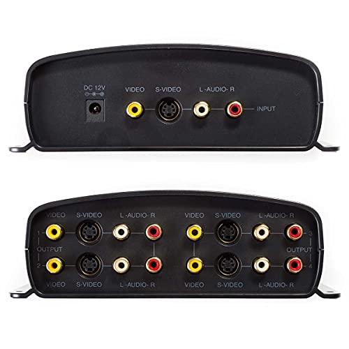 RadioShack 1500320 1-Input/4-Output A/V Component Video Sound S-Video Distribution Amplifier Splitter (Renewed)