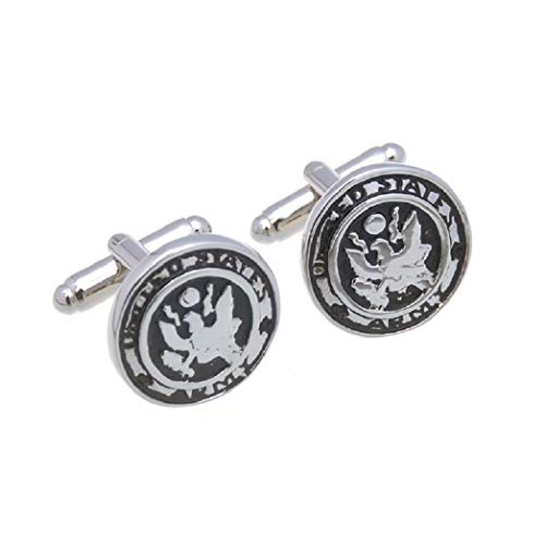 MRCUFF Army USA Pair of Cufflinks in a Presentation Gift Box & Polishing Cloth