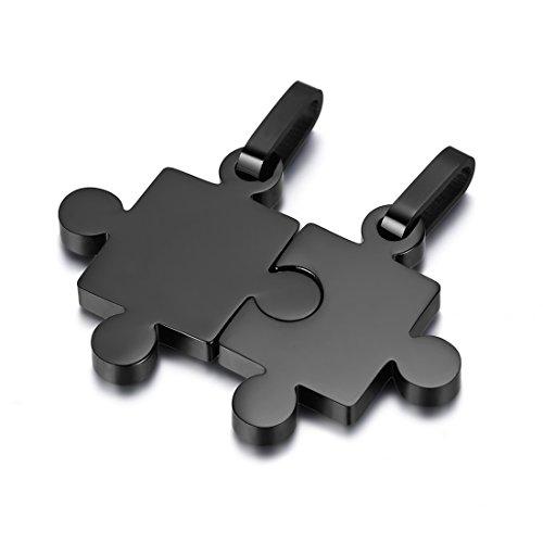 JewelryWe Schmuck 2 Freundschaftsketten Puzzle Love Edelstahl Partner-Anhänger mit 45cm und 55cm Kette, Halskette für Damen & Herren, Schwarz