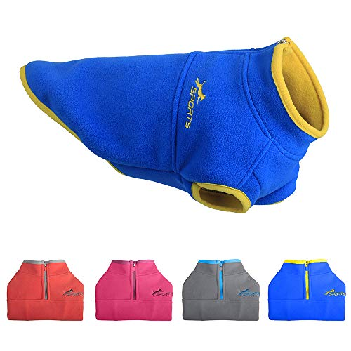 Leepets Cold Weather Dog Fleece Vest for Small Dog Half Zip Pullover Puppy Sweater Winter Warm Clothes Coat for Dog, Blue