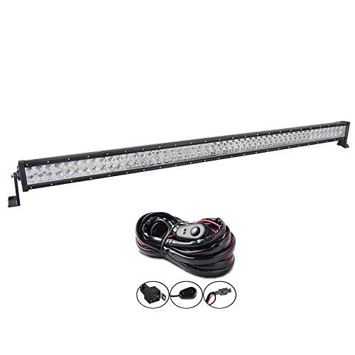 AUXTINGS 52 inch 300W LED Barre Projecteur Phare de Travail LED Spot Flood Light bar pour Feux Diurne lumière off road lampe Feu de recul Camion Remorque 4x4 Tracteur 12V 24V