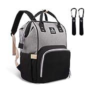 Hafmall Diaper Bag Backpack - Waterproof Multifunctional Large Travel Nappy Bag (Gray Black)
