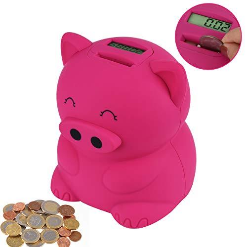 LarmTek Spardose Kinder,Cartoon Schweinemünzbank für Kinder,Erwachsene,elektronisches großes Sparschwein,lustiges Spielzeug,kreatives und nützliches Geschenk(Rosa Schwein)