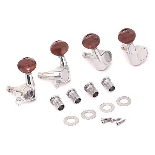 Musiclily 2+2 Clavijas de Afinación Clavijero de Repuesto para Ukelele, Cromo con Botón Rojo Perla
