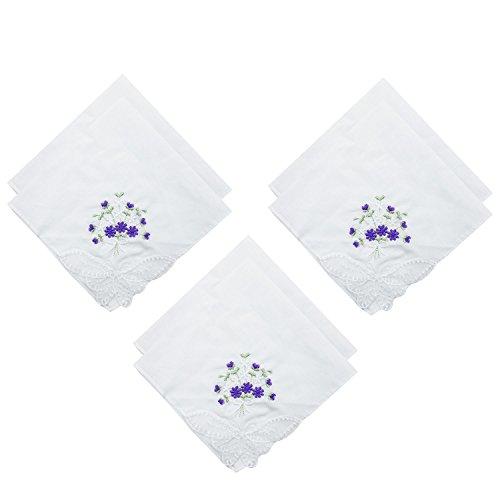 OLESILK Damen Taschentücher Stofftaschentücher mit Blumen Stickereien und Spitze Hochzeit Weiß 100% Baumwolle, Lila Blumen, 6 Stücke
