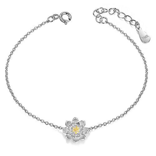 SHEGRACE シルバー925 24kゴールドメッキ 蓮の花 ミックスカラー 純銀 ブレスレット バングル ジュエリー