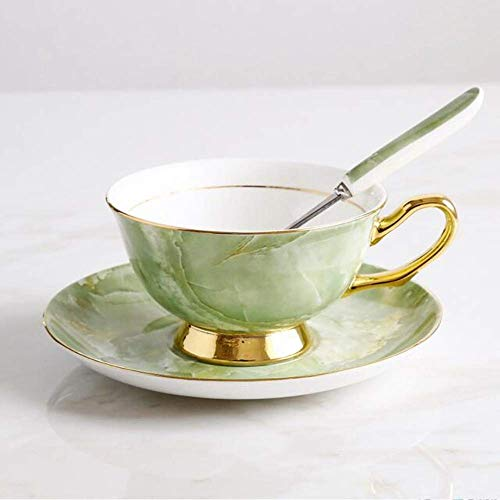 XYSQWZ Teeservice Gold Green Bone China Kaffeetasse Set Englisch Rot Teetasse Europäische Keramik Kaffeetasse Untertasse Nachmittagstee Tassen Teeservice