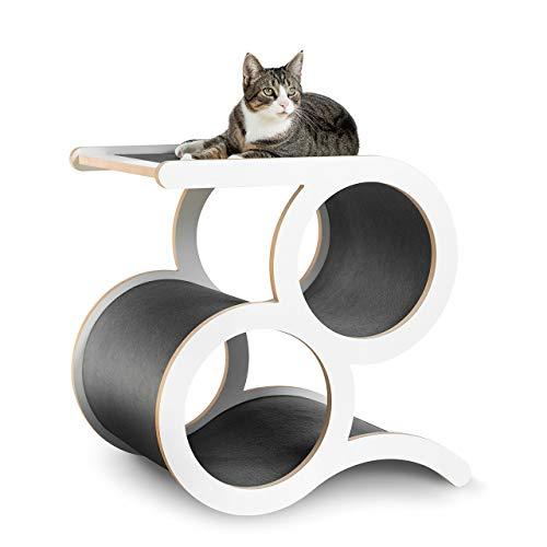 CanadianCat Company ® | Kratzmöbel Montreal mit 2 Ringen - Grauer Teppich - der Designer Kratzbaum auch für große Katzen