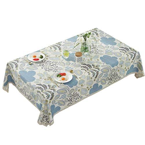 ZEQUAN Europeo de algodón Mantel Mesa Rectangular Cubierta Impreso Azul de la Vendimia Mantel for Mesa de la Cocina decoración Interior y Exterior Multifuncional