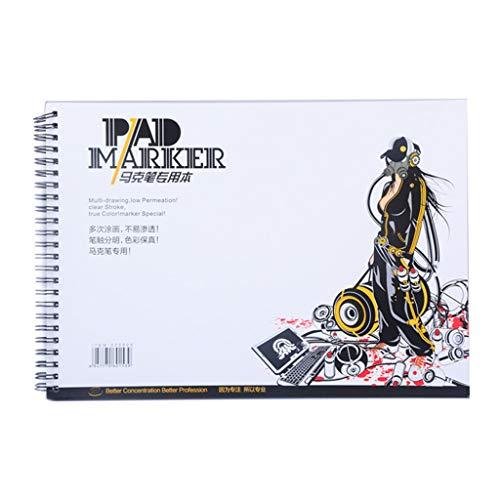 MYhose 34 Hoja Marcador Profesional Papel Espiral Boceto Bloc de Notas Libro Pintura A3