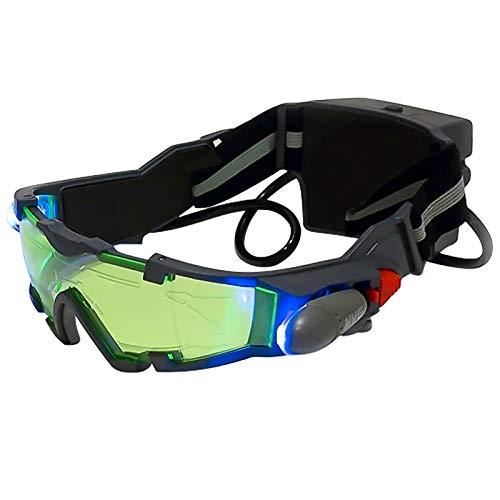 Nachar - Occhiali da visione notturna, regolabili, a LED, con luci pieghevoli, vetro di protezione degli occhi, con lente anti-laser, per sci di corsa in bicicletta