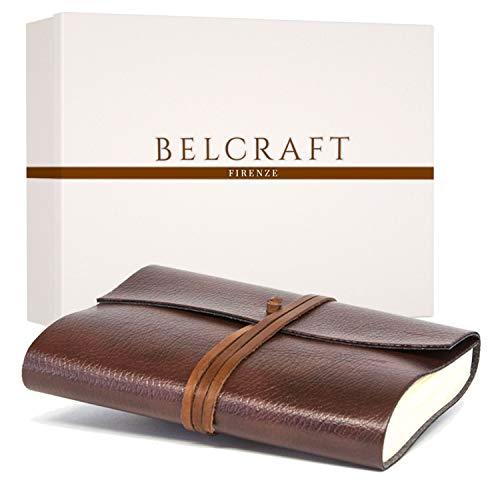 Tivoli A5 mittelgroßes Nachfüllbar Notizbuch aus recyceltem Leder, Handgearbeitet in klassischem Italienischem Stil, Geschenkschachtel inklusive, Tagebuch A5 (15x21 cm) Braun