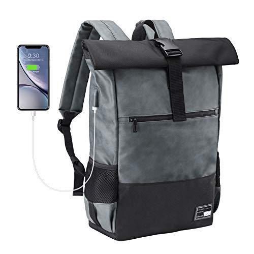 Sevego Laptop-Rucksack, Damen & Herren Roll Top Wasserdichter Wanderrucksack, Leichtgewichtiger Freizeit-Rucksack, Stilvolle Schultasche mit USB-Ladebuchse
