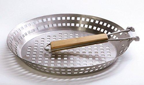 CV Grill-Pfanne Gemüse Grillkorb Edelstahl rund mit Klapp-Griff Ø ca. 31 cm Grillzubehör
