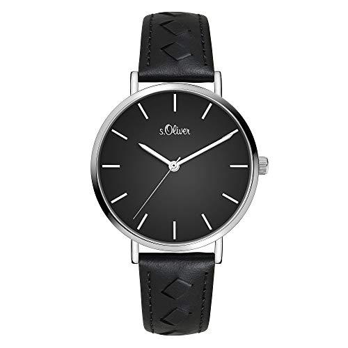 s.Oliver Damen Analog Quarz Uhr mit Leder Armband SO-3842-LQ