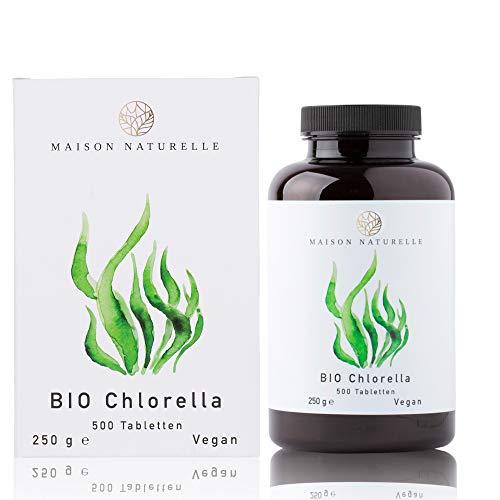MAISON NATURELLE® Bio Chlorella Tabletten (500 Stück) - 100% reine Bio Chlorella Alge ohne Zusätze - Hochdosiert mit 6.000mg Bio Chlorella je Tagesdosis - 100% Vegan