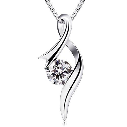 B.Catcher Kette Damen Anhänger 925er Silber Halskette 5A Zirkonia Notenschlüssel 45CM Kettenlänge Valentinstag Geschenk