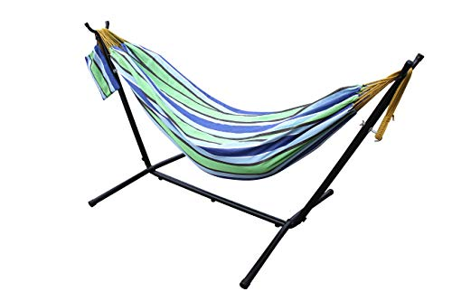 All Seasons Gazebos Ross James Garden Furniture, 100% Double Cotton Hammock with heavy Duty Metal Stand with over 200kg Weight Capacity (2020 Model) (Celeste and Yellow Stripe)