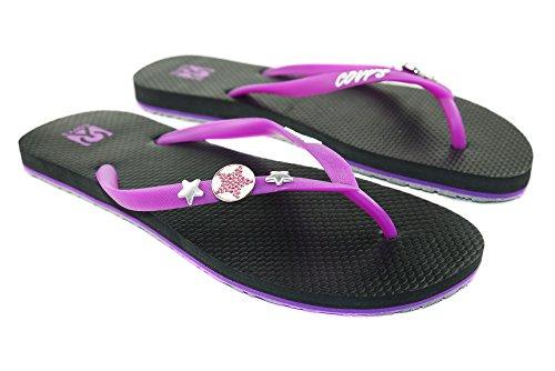 COVY'S jandals Purple/Black #5125 Women (Zehentrenner, Sandale, DIY, Pins)