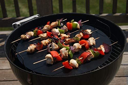 Vinsani [2 4 6 8 10 Lot] antiadhésif pour barbecue rond Mat (41 cm) – réutilisables et lavables au lave-vaisselle Tapis de cuisson – Noir Pack of 2