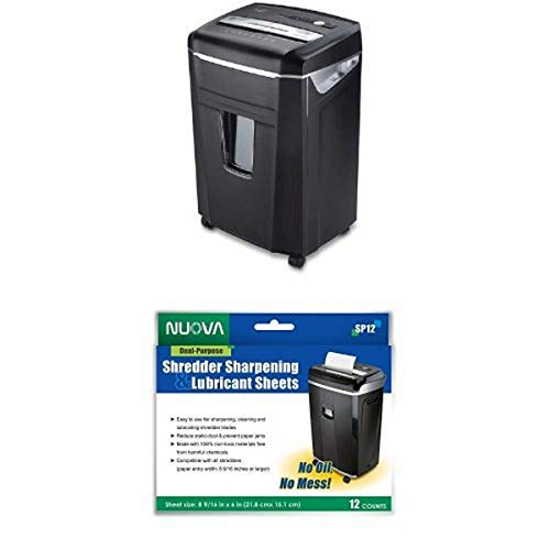 Aurora JamFree AU1400XA 14-Sheet Crosscut-Cut Paper / CD / Credit Card Shredder with Pull-Out Wastebasket and Sharpening and Lubricating Sheets