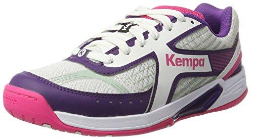 Kempa Wing Women, Chaussures de Handball Femme, Blanc (Blanc/Rose Fuchsia/Mauve), 44.5 EU