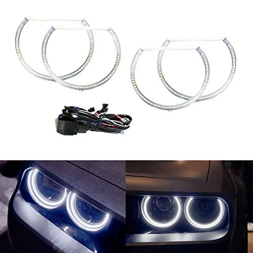 iJDMTOY Complete Set 4-Ring 252-SMD LED Angel Eye Halo Rings Kit w/Relay Harness Compatible With 2008-2014 Dodge Challenger Headlight Retrofit, Xenon White