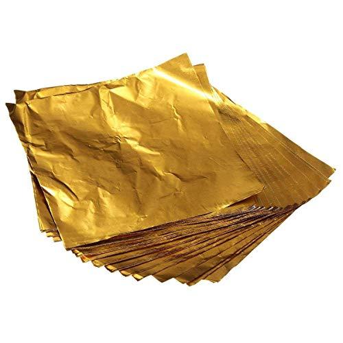 NEWBER 100 Pezzi Quadrati Dolci Caramelle cioccolatini Carta di Alluminio Involucri di Lamina d'oro