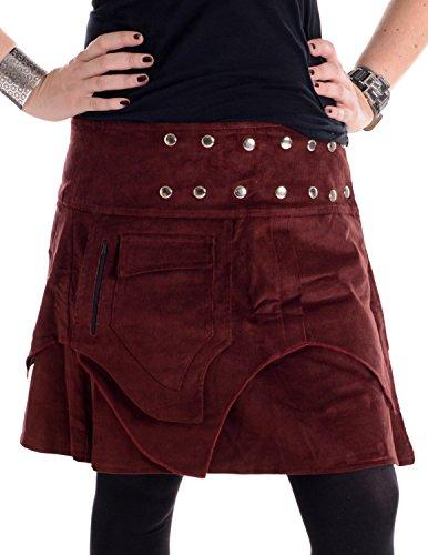 Vishes - Alternative Bekleidung - Mini Wickel Rock aus Cord mit Druckköpfen, Zipfeln und Schnürung dunkelrot