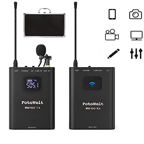 Fotowelt WM100 Full Metal 4 Channels UHF Professional Wireless Lavalier Microphone System Compatible for Canon Nikon Sony Panasonic D/SLR Camera,XLR camcorder & Smartphone (50m-164foot)