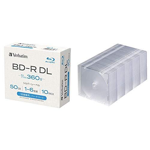 【セット買い】【Amazon.co.jp限定】Verbatim バーベイタム 1回録画用 ブルーレイディスク BD-R DL 50GB 10枚 1-6倍速 シルバーレーベル 5mmプラケース インデックスカード付き VBR260R10L-A & サンワサプライ 1枚収納×50枚セット スリムBD/DVD/CDケース クリア FCD-PU50C