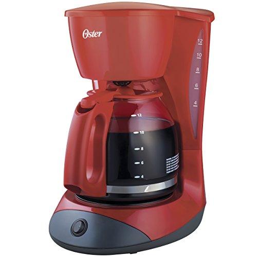 Cafetera Oster roja de 12 tazas con función de pausa y servir