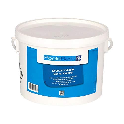 POOLSBEST® 3 kg Mini - Multitabs 5 in 1-20 g Tabletten - Mini Chlortabletten für Pool - Chlor wirkt schnell gegen Bakterien, Pilze und Viren im Pool