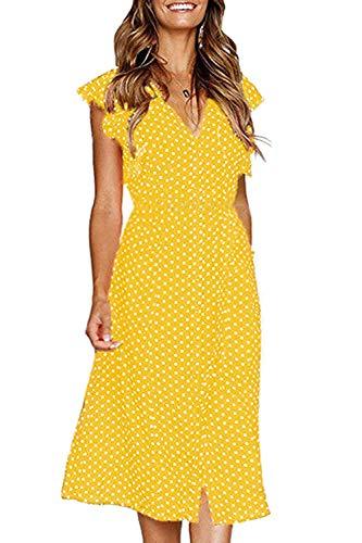 FUTURINO Damen Sommerkleid Elegant Vintage Cocktailkleid Kurzarm Kleider Unregelmäßige Strandkleid mit Knöpfen, Gelb, XL(EU 42)