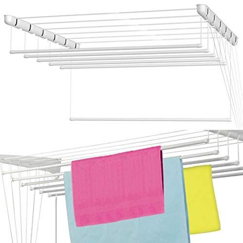 Tendedero blanco de techo, 5x 120cm, espacio de secado de 6 m, ahorro de espacio