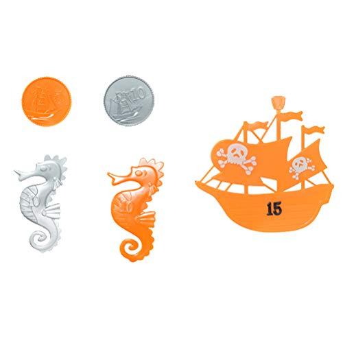 YeahiBaby 5 stücke Tauchspielzeug Piratenschiff Münze Sea Horse Unterwasser Schwimmbad Spielzeug Werfen Torpedo Banditen für Kinder Jungen Mädchen