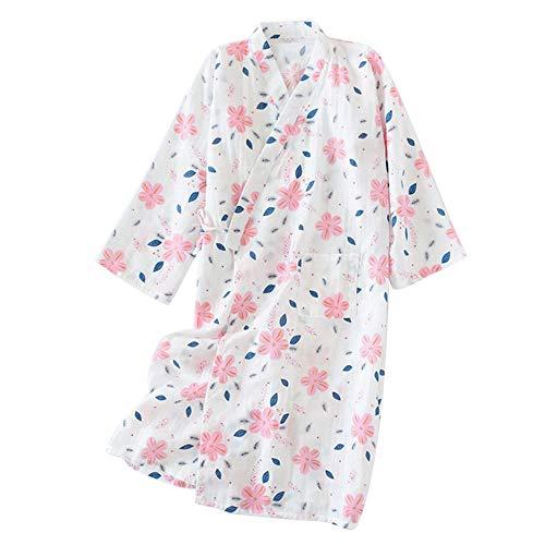 FEOYA Kimono Estampado Mujer Verano Yukata Japonés para Sauna Albornoz Delgado Algodón Bata de Baño Ropa de Dormir Vestido de Noche Color Blanco Flor del Sol Talla L
