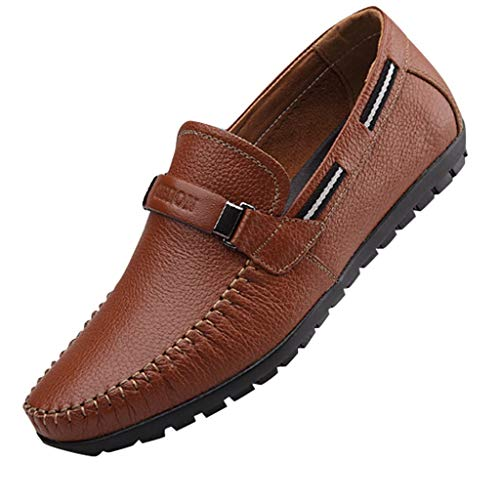 Men's Penny Loafers Faux Leather Slip On Driving Dress Shoes Soft Boat Shoes Round Toe Moccasins by Lowprofile Yellow