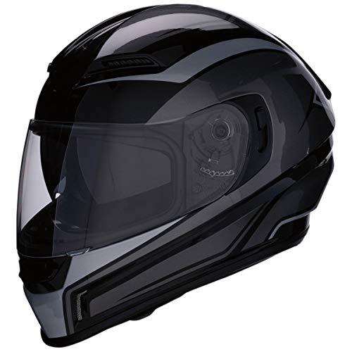Z1R Casco de Moto Integral Homologado con Pantalla y Visera Parasol Desplegable   Ventilación   Negro y Gris   Policarbonato   Hombre o Mujer (Medium)