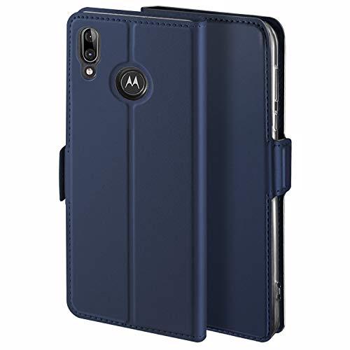 HoneyHülle für Handyhülle Motorola Moto E6 Plus Hülle Leder Premium Tasche Hülle für Motorola Moto E6 Plus, Schutzhüllen aus Klappetui mit Kreditkartenhaltern, Ständer, Magnetverschluss, Blau